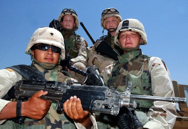 Lionesses Cynthia Espinoza, Ranie Ruthig, Shannon Morgan, and Michelle Perry in Ramadi, Iraq in July 2004.