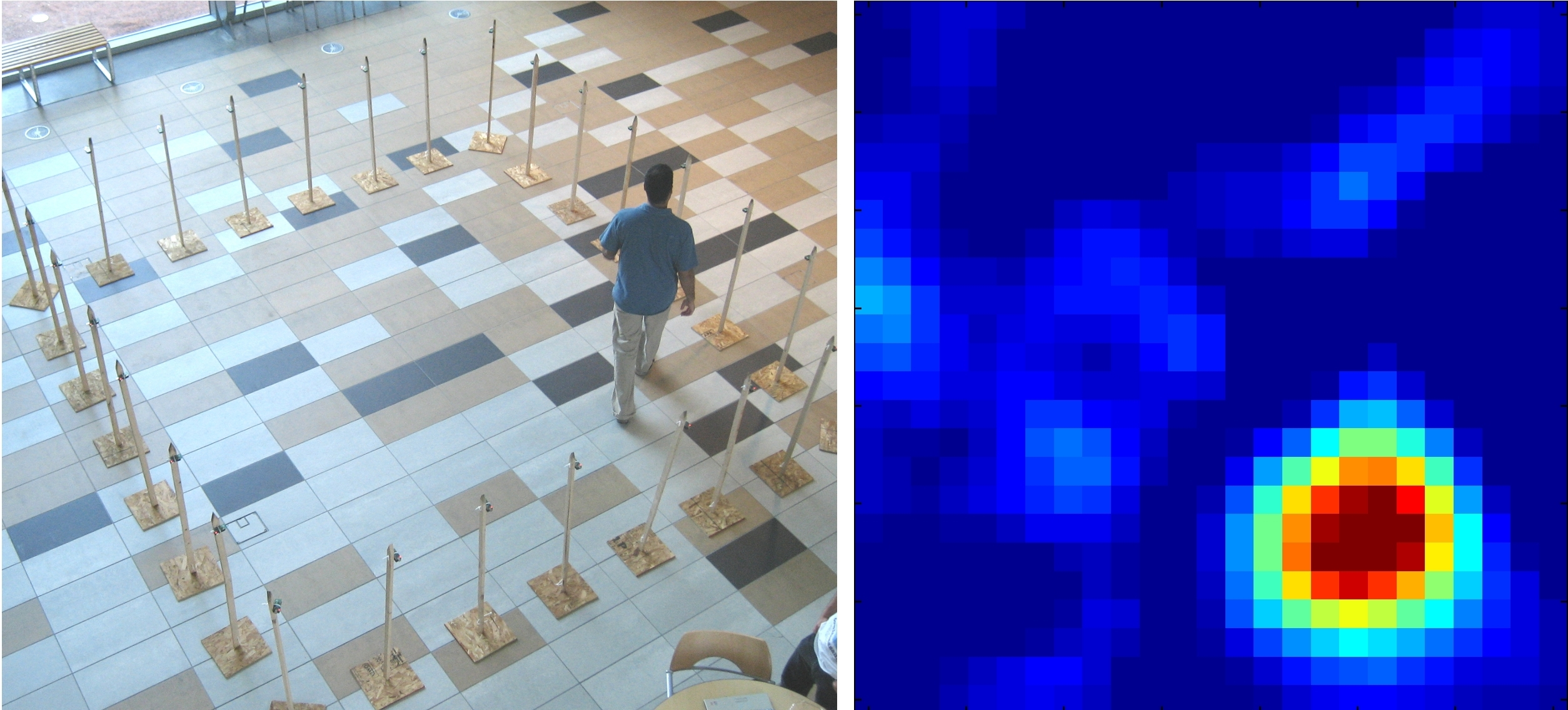 """On the left, a person walks around inside a square of 28 radio transceivers (mounted on plastic pipes) in the Warnock Engineering Building's atrium at the University of Utah. The person creates """"shadows"""" in the radio waves, resulting in the image displayed on right, in which the person appears as a reddish-orange-yellow blob. University of Utah engineers also showed this method can """"see"""" through walls to make blurry images of people moving behind the walls. They hope the technique will help police, firefighters and other emergency responders apprehend burglars and rescue hostages, fire victims and others."""