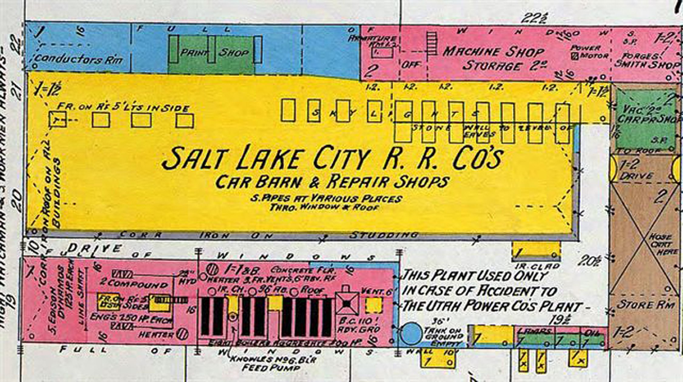 An interesting map from 1898 details development west of downtown Salt Lake City and includes structures such as the Ladies Literary Club, the Salt Lake Railroad Company, Joseph E. Taylor's Coffin Factory, Utah Power and the Cathedral of Saint Mark.
