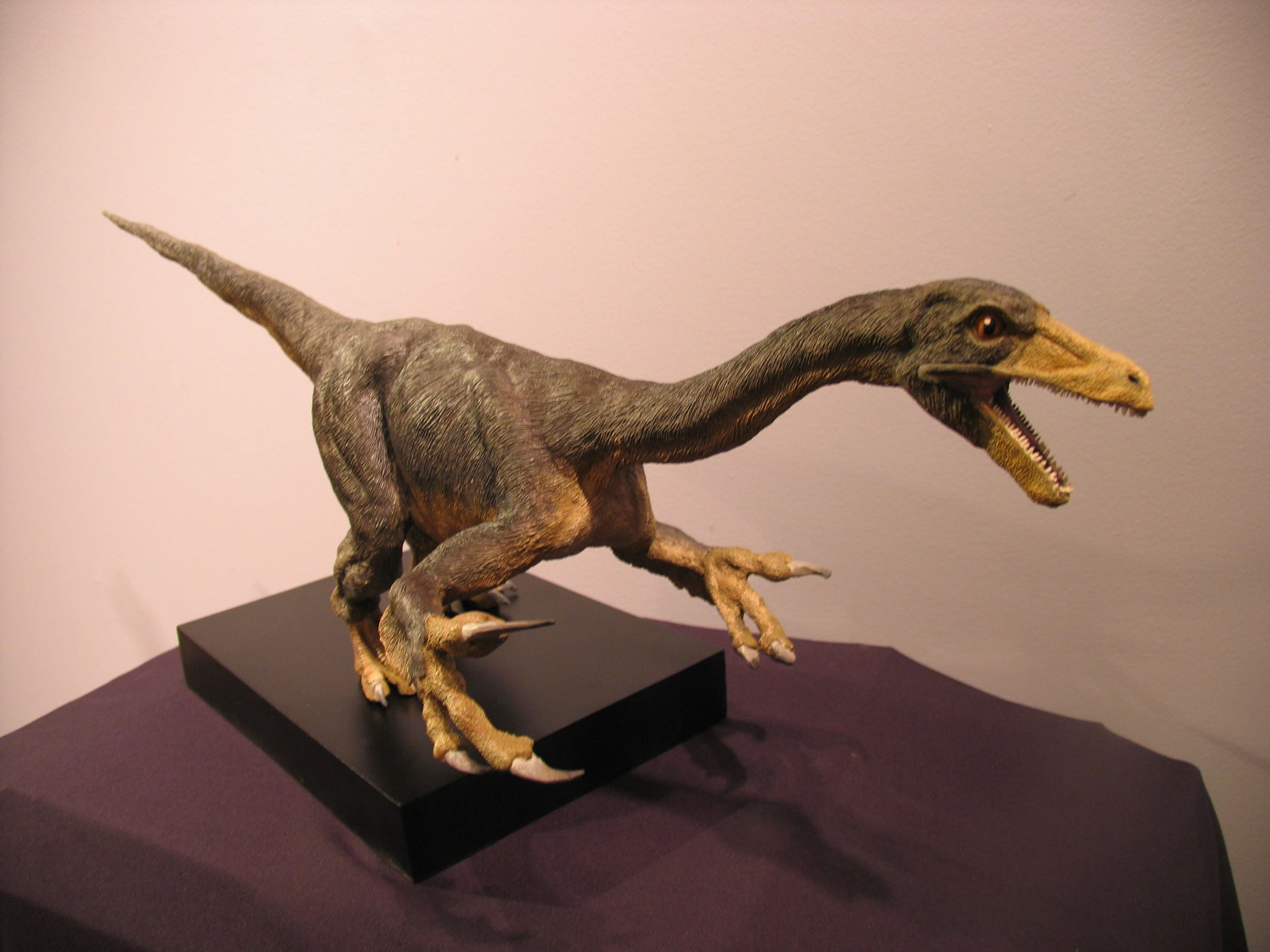 Sculpture of the previously unknown dinosaur species Falcarius utahensis, which was dicovered by scientists from the Utah Geological Survey and the Utah Museum of Natural History at the University of Utah. The sculpture was created by artist John Moore, with casting and painting by PaleoForms LLC in Provo, Utah.