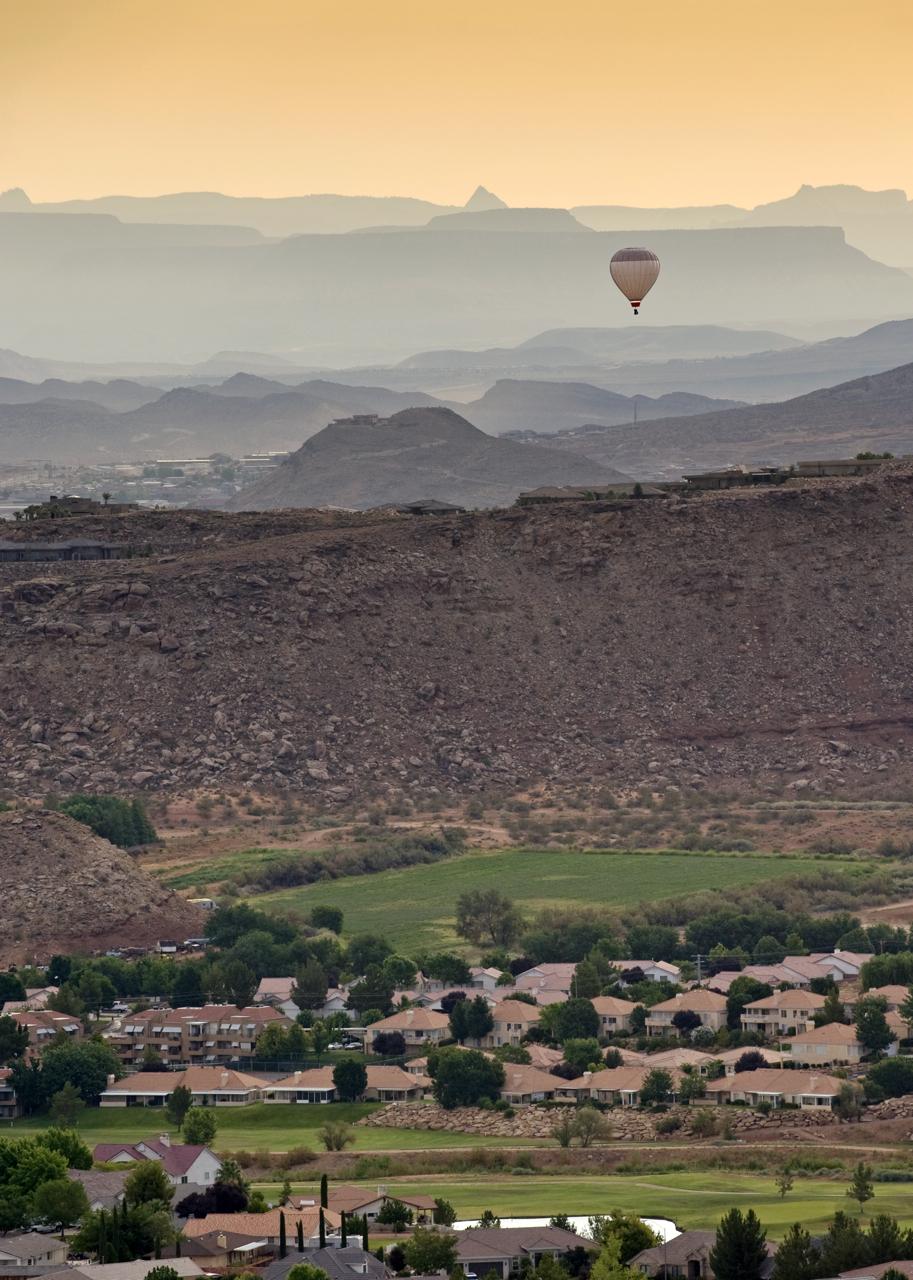 Hot air balloon over St. George Utah.
