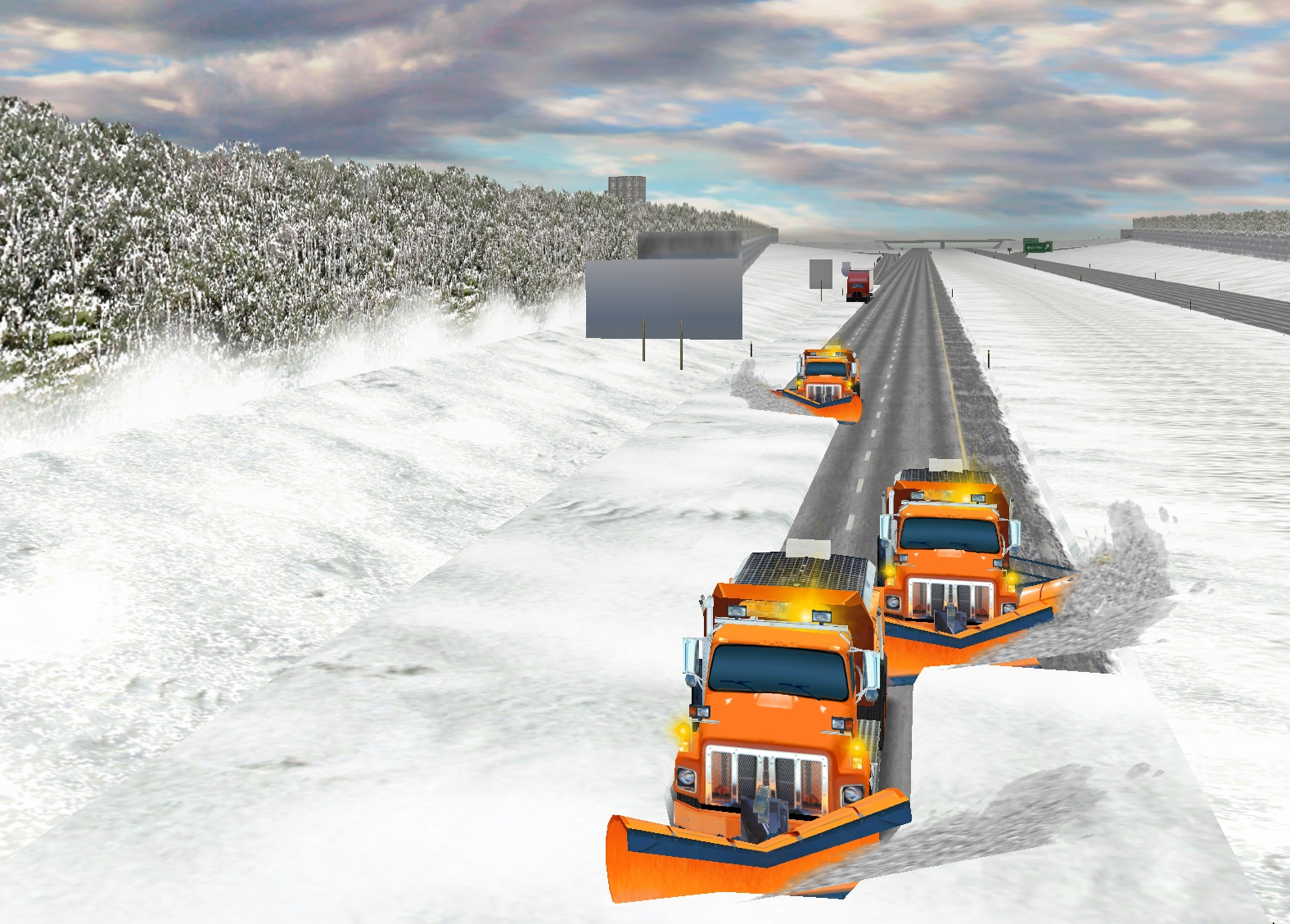 Snowplows clear a freeway in a virtual reality driving environment used in a program to train Utah Department of Transportation snowplow operators. Psychology Professor David Strayer of the University of Utah helped develop the training program.