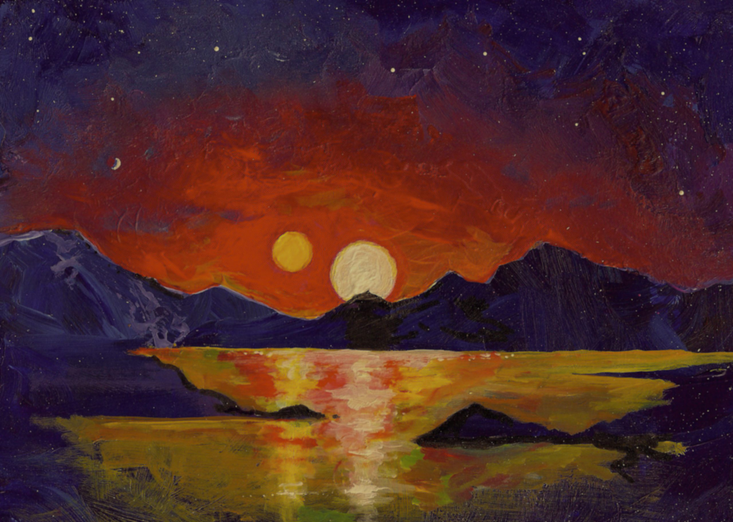 """In this acrylic painting, University of Utah astrophysicist Ben Bromley envisions the view of a double sunset from an uninhabited Earthlike planet orbiting a pair of binary stars. In a new study, Bromley and Scott Kenyon of the Smithsonian Astrophysical Observatory performed mathematical analysis and simulations showing that it is possible for a rocky planet to form around binary stars, like Luke Skywalker's home planet Tatooine in the """"Star Wars"""" films. So far, NASA's Kepler space telescope has found only gas-giant planets like Saturn or Neptune orbiting binary stars."""