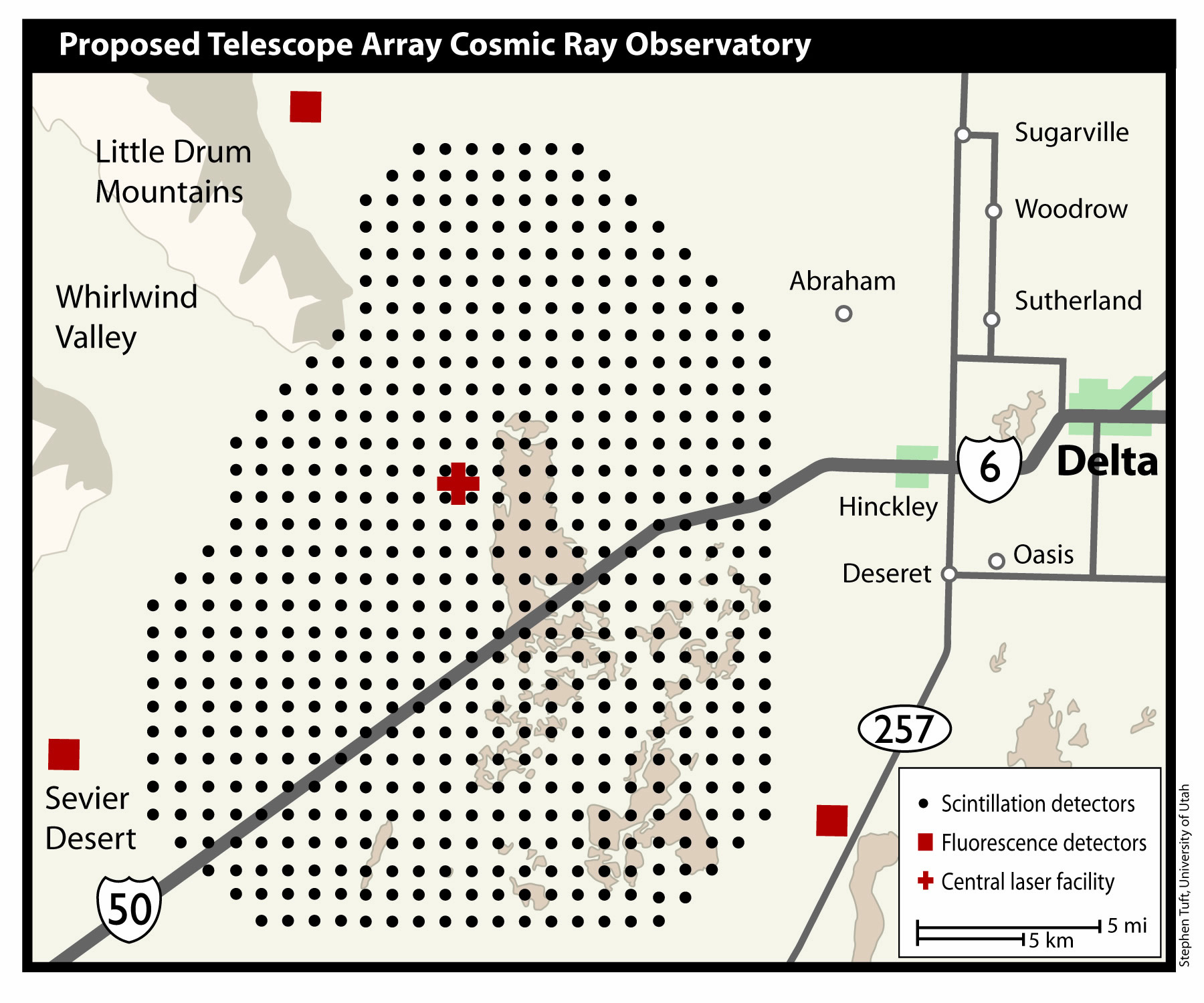Map of the proposed Telescope Array
