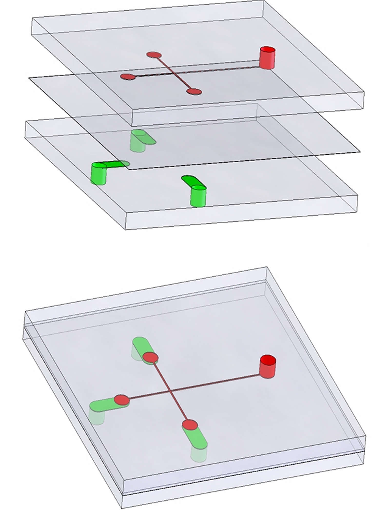 A new micropump developed at the University of Utah is made of three layers (upper illustration) of PDMS, a material similar to clear silicone bathtub caulk. The middle layer is thin. Air can pass through it but not liquid. The assembled pump (lower illustration) would be part of a credit-card-sized lab-on-a-chip to make medical lab tests faster and less expensive. In this example, a blood sample is placed in an open well in the top layer (red cylinder on right of both illustrations). A vacuum is applied to control channels in the bottom layer (green in both illustrations). The vacuum draws air through the middle layer, which pulls the blood from the well through hair-sized microchannels (red lines) and into test chambers (the three red circles), where the blood would mix with chemicals, antibodies or some other material needed for a test.